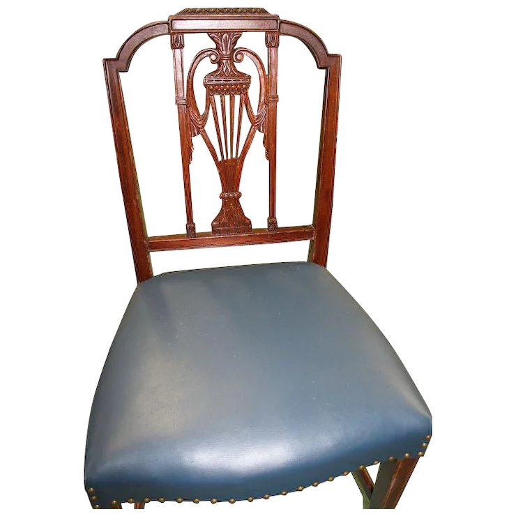 Dining Chairs Hepplewhite Sheraton Style Blue Leather Seats Set Of Roberts Antiques Restorations Ruby Lane