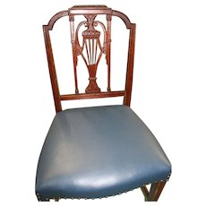 Dining Chairs, Hepplewhite, Sheraton Style, Blue Leather Seats. Set of 6,