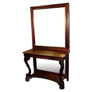 Mahogany Pier Table or Side Table with Upper and Lower Mirrors