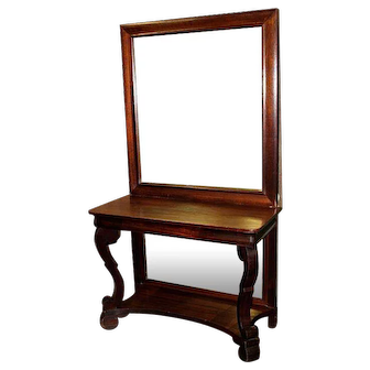 Mahogany Pier Table with Upper and Lower Mirrors