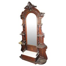 Walnut Victorian Etagere with White Marble, Mirror, Ornate