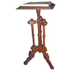 Walnut Victorian Lamp Table or Fern Stand with Inset Marble