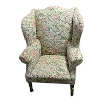 Wingback Chair or Easy Chair, Early Sheraton with Chippendale Curved Crest