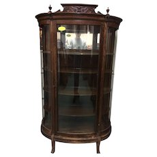 Oak Curved Glass China Cabinet with Carved Crown Top