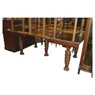 Square Oak Dining Table, Large Spiral Legs, 3 Leaves