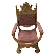 Oak Curule Chair with Carving, Upholstered Seat