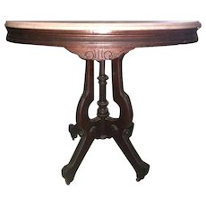 Walnut Victorian Table with Oval Marble Top