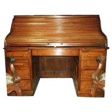 Walnut Roll Top Desk 1870