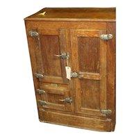 Chestnut Wood Three Door Ice Box