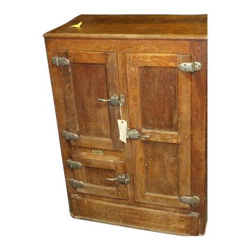 Chestnut Wood Three Door Ice Box