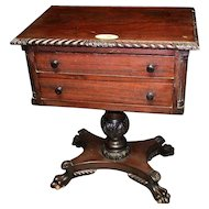 Mahogany Two Drawer Federal Empire Revival Stand or Table