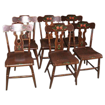 Plank Bottom Tole Painted Kitchen Chairs Pennsylvania Style