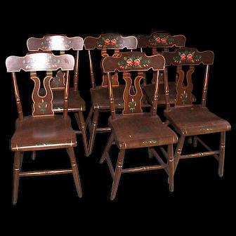 Plank Bottom Tole Painted Kitchen Chairs, Pennsylvania Style