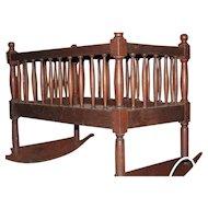 Walnut Shaker Crib with Rockers ca. 1840