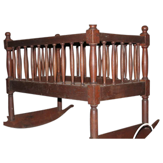 Walnut Shaker Crib with Rockers ca. 1840