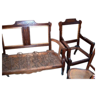 Walnut Victorian Loveseat and Arm Chair