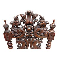 Walnut Victorian Chair Bold Carved Back