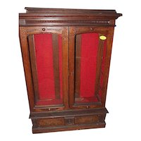 Walnut  Eastlake Victorian Two Door Bookcase