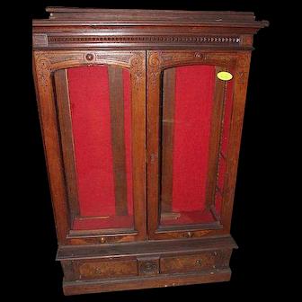 Walnut  Eastlake Victorian Two Door Bookcase