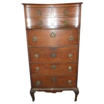 Oak Lingerie Chest, Step Back with Cabriole Legs