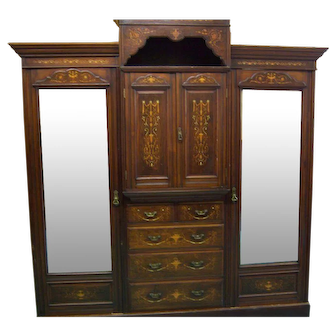 Rosewood Victorian Wardrobe with Inlay Two Full Length Mirror Doors, Drawers, Compartments