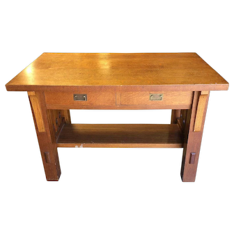 Oak Desk Mission Period and Style One Drawer