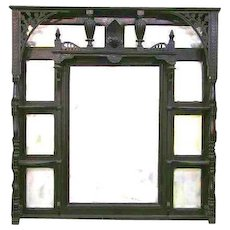 Victorian Ebonized Etagere Style Overmantle Mirror