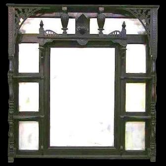 Victorian Ebonized Etagere Style Overmantle Mirror