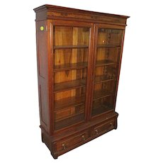 Walnut and Burl Walnut Victorian Two Door Bookcase