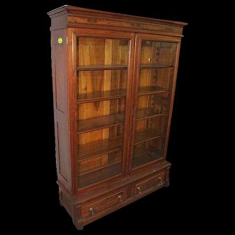Walnut and Burl Walnut Victorian Two Door Bookcase