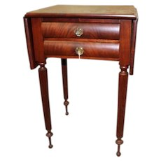 Mahogany Federal Sheraton Stand with Two drawers, Drop Sides, Reeded Legs