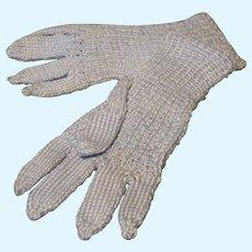 Pale Blue Knit Gloves - Vintage Miniature