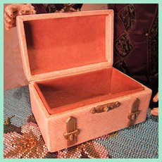 Stylish Antique Miniature Leather Covered Trunk for French Fashion