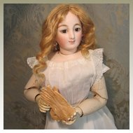 Tiny Buff Leather Kid Gloves W/ Pinked  Edges for French Fashion