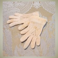 Cream Knit French Fashion Antique Miniature Gloves