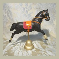 Miniature Antique Black  Horse To Display W/ All-Bisque Dolls