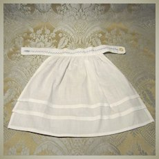 Antique White Cotton Apron With Blue Featherstitching