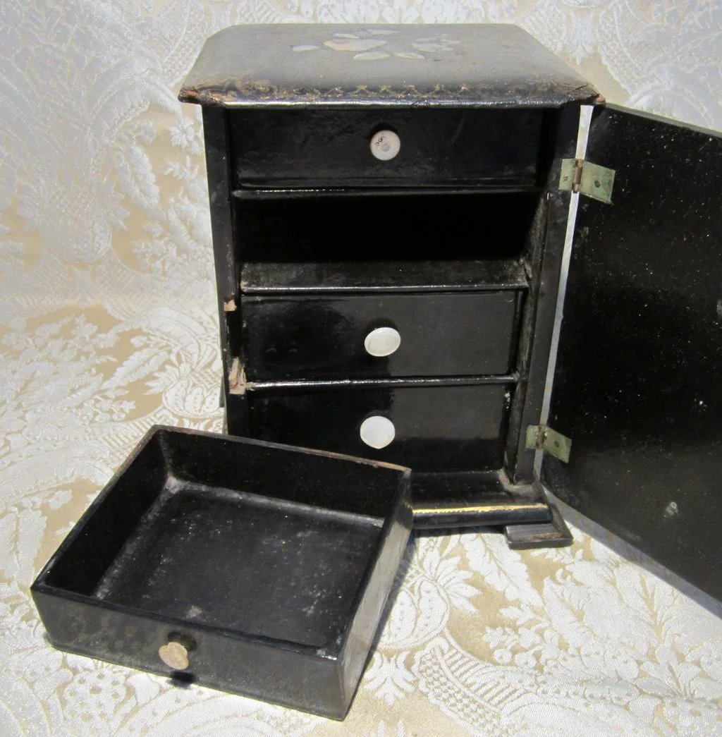 Miniature Black Lacquer Chinoiserie Chest Of Drawers For Antique Doll Display To Expand