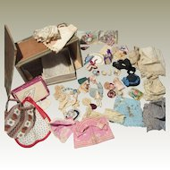 Incredible Original Antique Wardrobe of Clothing for Miniature Dolls