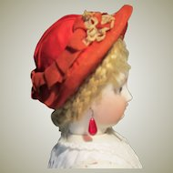 Charming Vintage Red Organdy Bonnet for French Fashion