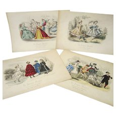 Four Original Colored Prints From La Poupee Modele - 1864 - 68