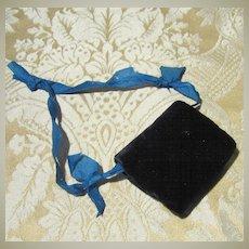 Antique Black Velvet Muff for Small Doll