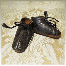 Antique Black Leather Boots for Primitive Doll