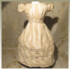 Antique Cotton Tan Stripe Dress