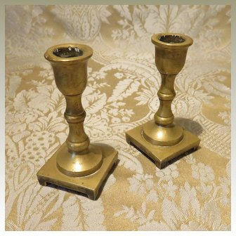 Pair of Miniature Brass Candlesticks for Doll Display