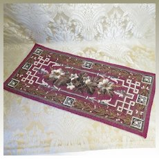 Antique Bead and Needlepoint Rug for Doll Display