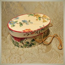 Cute Vintage Hatbox for Doll Display
