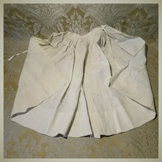 Simple White Cotton Antique Apron for Large Doll