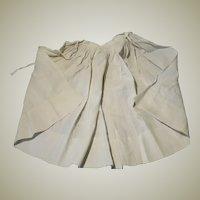 Simple White Cotton Antique Apron for Large Doll