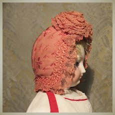 Pretty French Rose Bonnet for Small Bebe